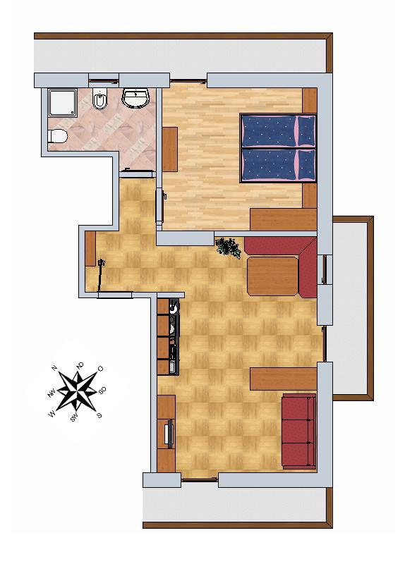 50 mq guardaroba cucina-soggiorno con 2 balconi (uno di 9 mq verso sud ...